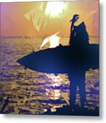 Silhouette Woman On Coast Holding Surfboard At Sunset Metal Print