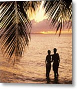 Silhouetted Couple Metal Print