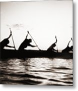 Silhouetted Paddlers Metal Print