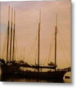 Silhouetted Sailboats Metal Print