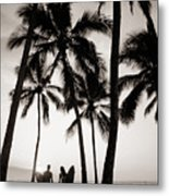 Silhouetted Surfers - Sep Metal Print