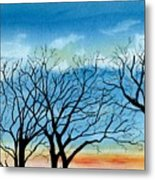 Silhouettes Against The Sky Metal Print