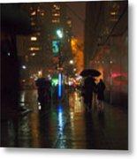 Silhouettes In The Rain - Umbrellas On 42nd Metal Print