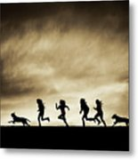 Silhouettes Of Running Girls And Dogs  Metal Print