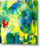 Silk Painting With A Heart  Metal Print