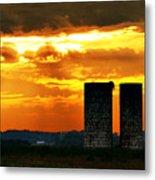 Silos At Sunset Metal Print