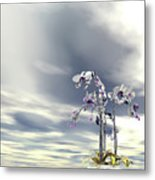 Silver And Gold Orchids Metal Print