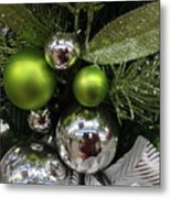 Silver And Green For Christmas Metal Print