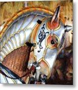 Silver Carousel Horse II Metal Print