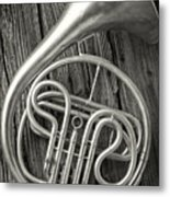 Silver French Horn Metal Print