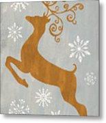Silver Gold Reindeer Metal Print