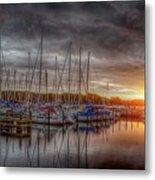 Silver Harbor Skies Metal Print