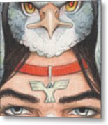 Silver Hawk Warrior Metal Print