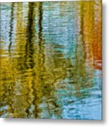 Silver Lake Autum Tree Reflections Metal Print