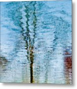 Silver Lake Tree Reflection Metal Print