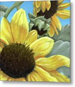 Silver Leaf Sunflower Growing To The Sun Metal Print