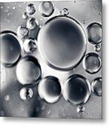 Silver Macro Droplets Metal Print
