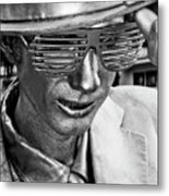 Silver Man Mime Metal Print
