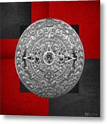 Silver Mayan-aztec Calendar On Black And Red Leather Metal Print