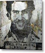 Silver Pablo Escobar Mug Shot 1991 Metal Print