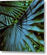 Silver Palm Leaf Metal Print