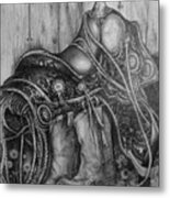 Silver Sands- Saddle And Boots Metal Print