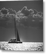Silver Sea Sailboat Delray Beach Florida Metal Print