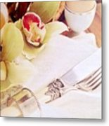 Silver Service Breakfast Setting Metal Print