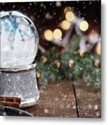 Silver Snow Globe With White Christmas Trees Metal Print