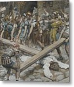 Simon The Cyrenian Compelled To Carry The Cross With Jesus Metal Print