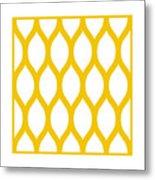 Simplified Latticework With Border In Mustard Metal Print