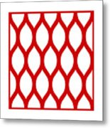 Simplified Latticework With Border In Red Metal Print