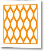 Simplified Latticework With Border In Tangerine Metal Print