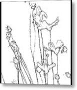 Simplistic Flower Sketch Metal Print