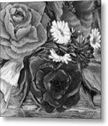 Simply Flowers 1 Black And White Metal Print