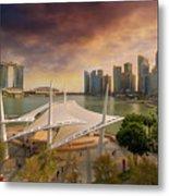 Singapore City Skyline By Marina Bay Sunset Metal Print