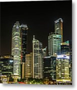 Singapore Evening Cascade Metal Print