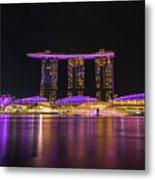 Singapore In Purple 1 Metal Print