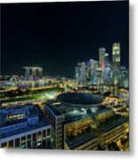 Singapore Modern Skyline By The River At Night Metal Print