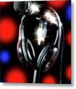 Singer Stage Microphone Metal Print