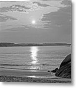 Singing Beach Rocky Sunrise Manchester By The Sea Ma Sand Black And White Metal Print