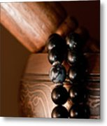 Singing Bowl And Mala In Color Metal Print