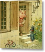 Singing Piglet Metal Print