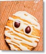 Single Homemade Mummy Cookie For Halloween Metal Print