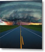 Single Lane Road Leading To Storm Cloud Metal Print