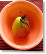 Single Pear In A Bowl Too Metal Print