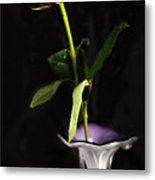 Single Red Rose In Vase Metal Print