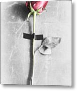 Single Rose Stem Taped On White Background  Metal Print
