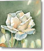 Single  White Rose Metal Print