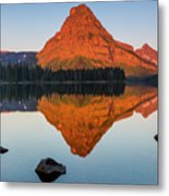 Sinopah Mountain Reflected In Two Medicine Lake At Sunrise Metal Print